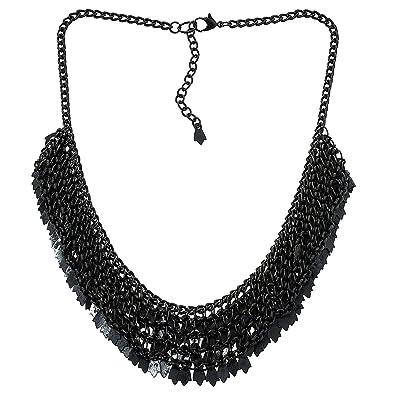 4b6a2836c038 Latón Cluster Collar Negro para la Mujer Moda Bisutería India  ShalinCraft   Amazon.es  Joyería