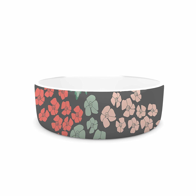 KESS InHouse Zara Martina Mansen Natures Bouquet  Coral Green Pet Bowl, 4.75
