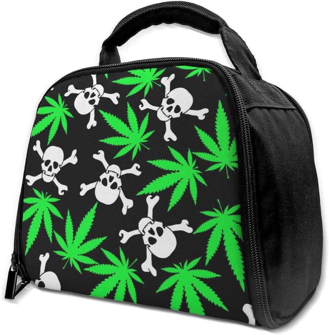 Green Haoke Bolsas de Almuerzo Aisladas Bolsas de Cannabis con Calaveras Bolsas Térmicas Reutilizables Bolsas de Aislamiento para el Trabajo Picnic Escolar