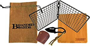 Branded Boards Bushcraft Stainless BBQ Grill Grate, Eco-Friendly Bamboo Cutting Board, Burlap Hemp Drawstring Bag, Mini Camp Knife. Camping, Backpacking, Hunting & Fishing. (Folding Grill Kit)