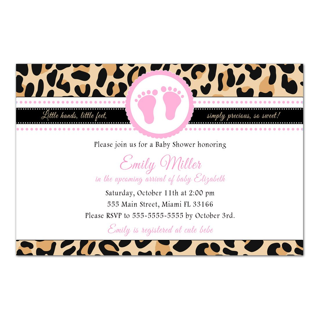 30 Invitations Girl Baby Shower Leopard Animal Print Pink Personalized Photo Paper