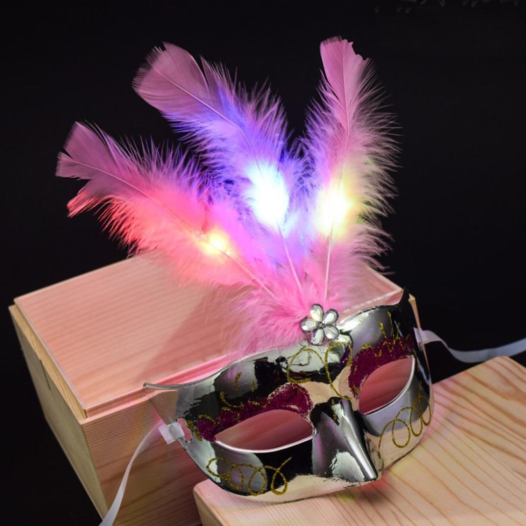 Violet Masques SHOBDW V/énitiennes LED Masque de mascarade Fantaisie Robe de soir/ée Masques /à plumes Princesse