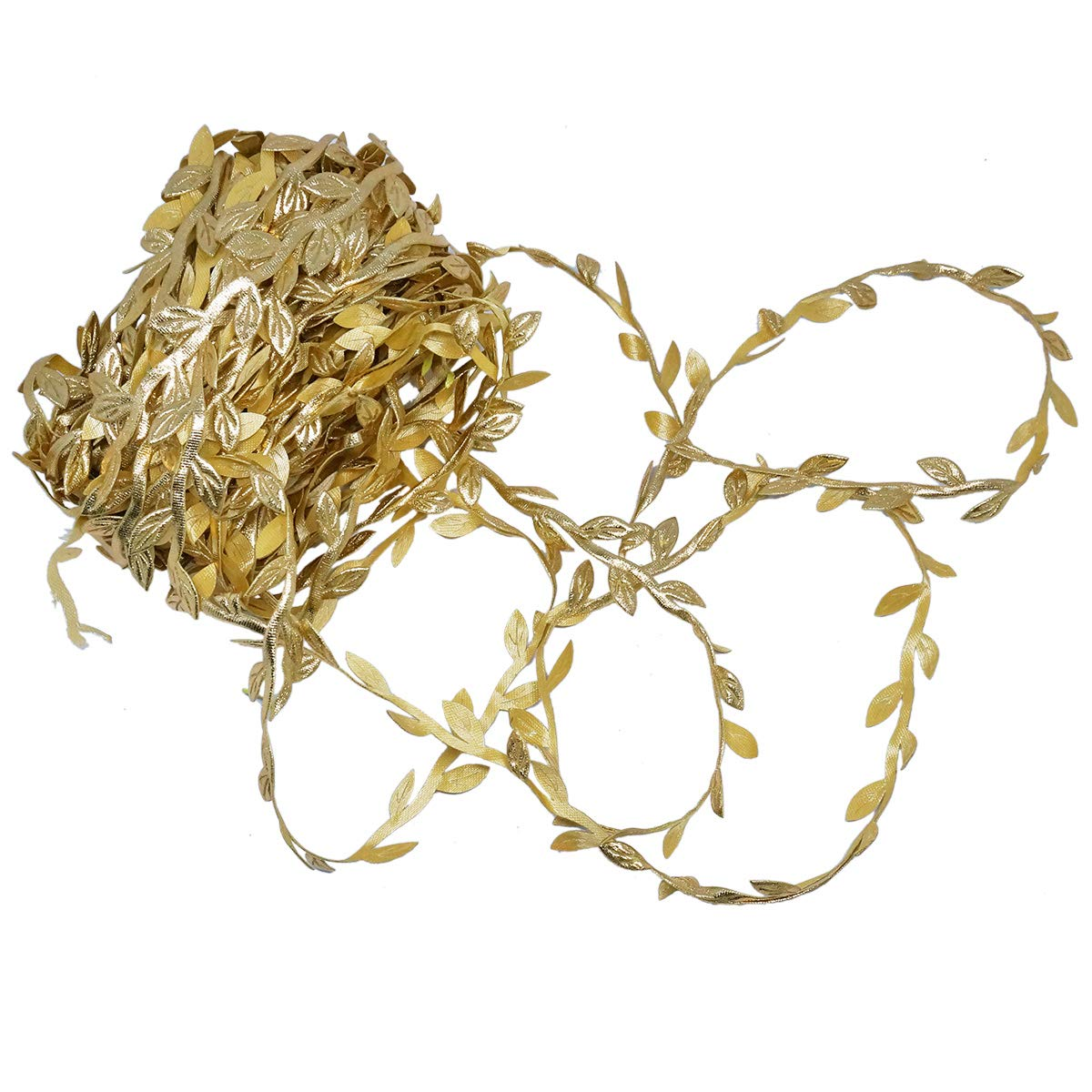 21.8 Yards Golden Leaf Trim Leaves Ribbon Metallic Trim Wedding Hair Band Making ,GOLD Leaves Ribbon Trim for Wedding, Crafting, Scrapbooking, Card Making, Embellishment Christmas wreath Party Garlands Supply Golden Leaf Leaves