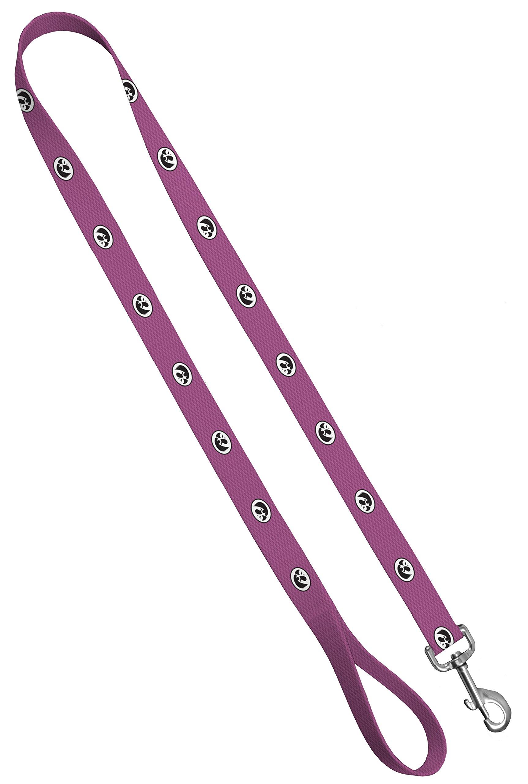 Moose Pet Wear Dog Leash - University of Iowa Hawkeyes Pet Leash, Made in the USA - 1 Inch Wide x 6 Feet Long, Pink Carbon Fiber