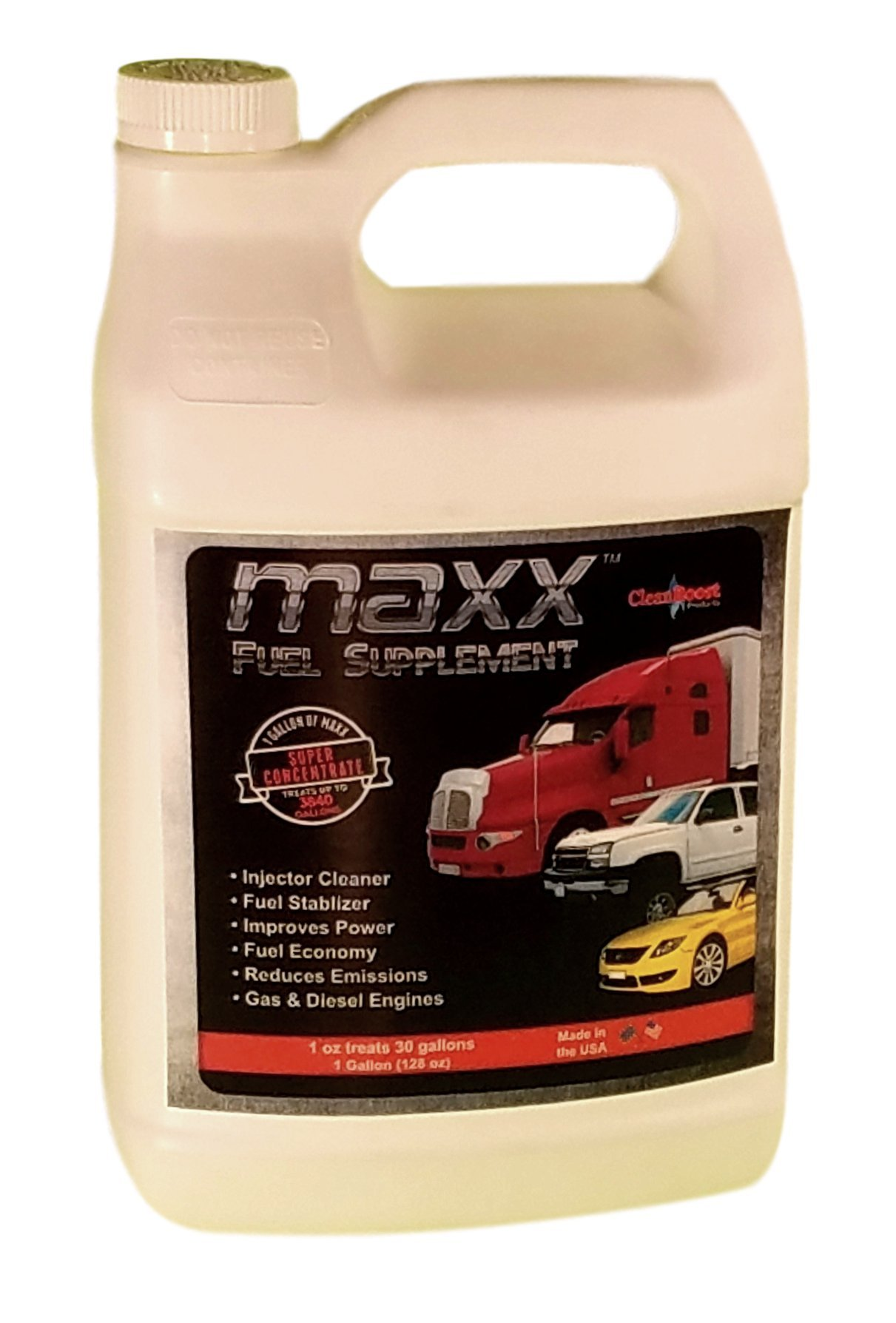 CleanBoost® Maxx™ 128oz (gallon) Fuel Treatment for Gas & Diesel Fuel - Treats 3,840 Gallons - Buy Now and receive a Free Nano-Sheen™