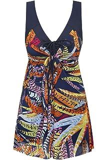 76fe72ac8885e Wantdo Women's Plus Size Swimdress Flower Printed Swimwear Cover Up  Swimsuits