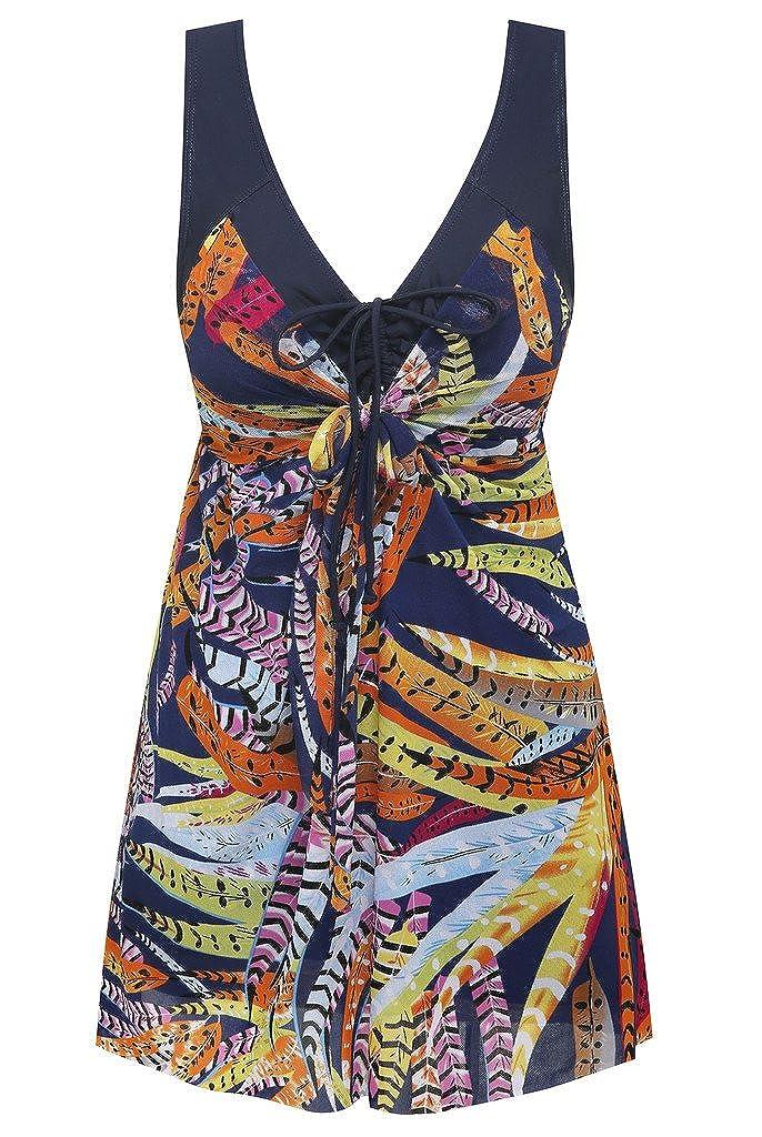 Wantdo Plus tamaño de la Mujer Estampado Flor Impreso Swimwear Cover Up bañadores - -: Amazon.es: Ropa y accesorios