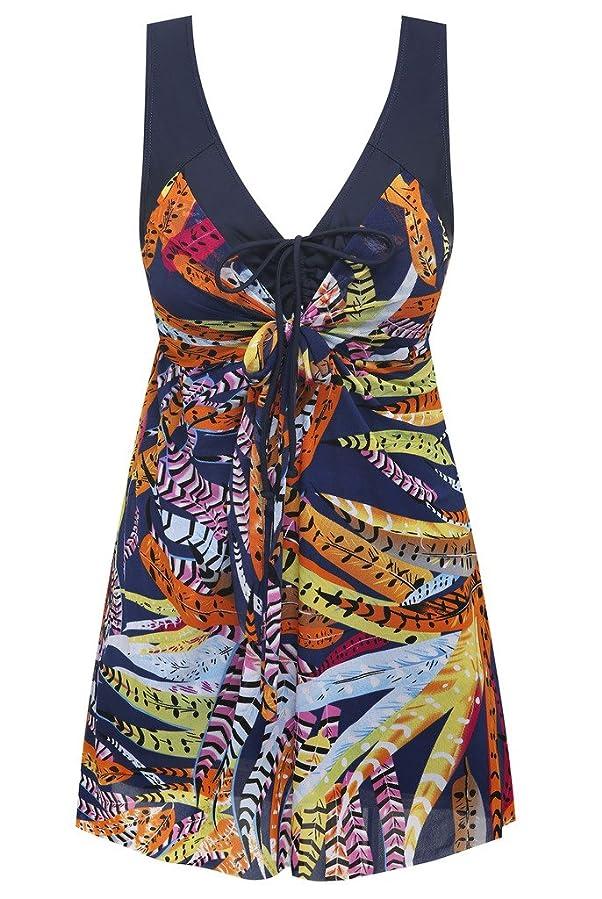 9f4dab41ec44 Wantdo Women's Plus Size Swimdress Flower Printed Swimwear Cover Up  Swimsuits
