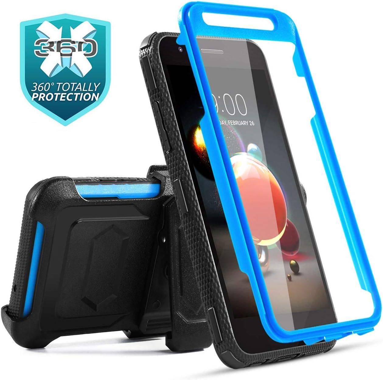 LG Aristo 2 Case,LG Aristo 3/Aristo 3 Plus/Rebel 4 LTE/Tribute Empire/LG K8S/Zone 4/Tribute Dynasty/Aristo 2 Plus/Fortune 2/K8+/Risio 3/Phoenix 4 Case w/Screen Protector+Kickstand Belt Clip-Blue