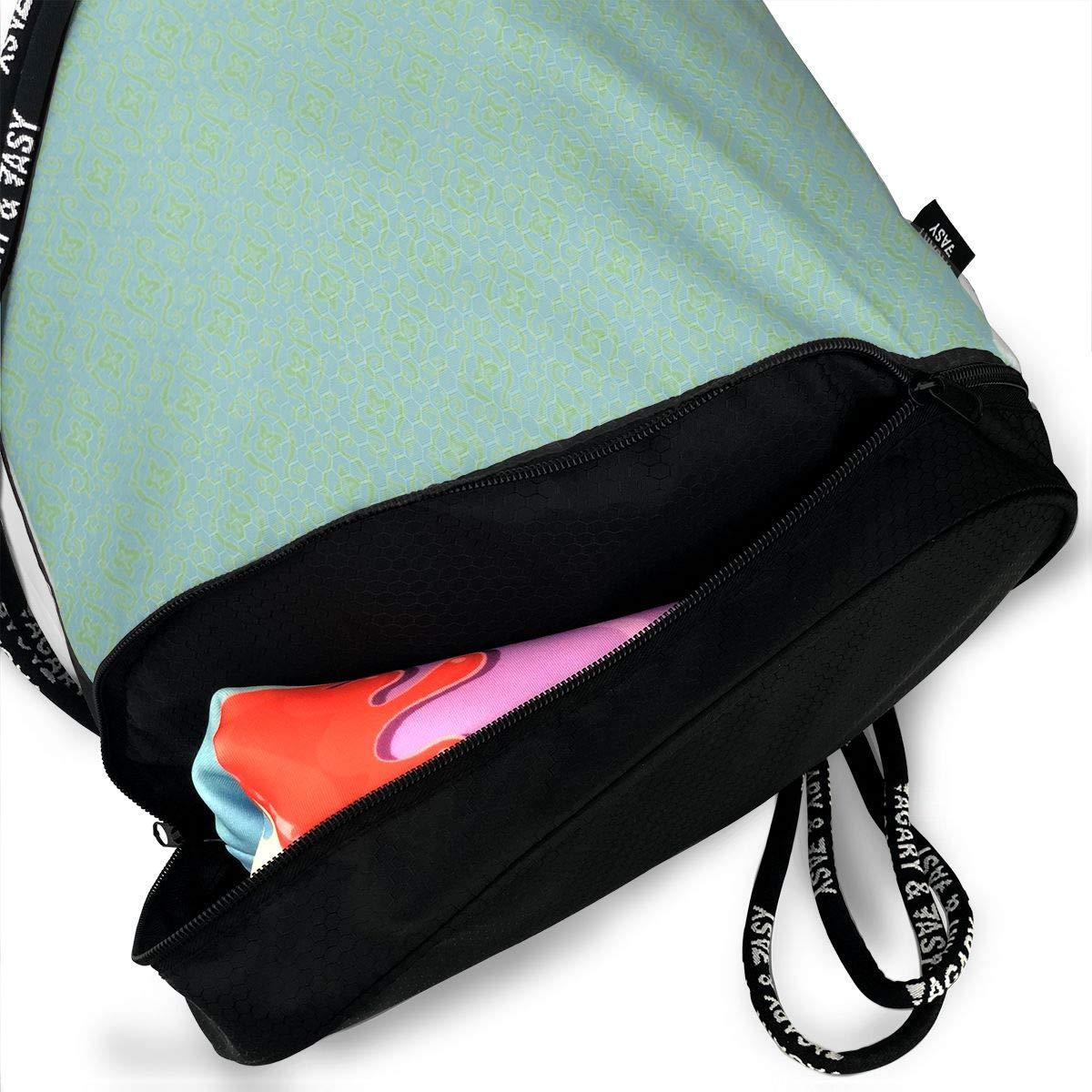 Baroque Lozenge Mermaid Drawstring Backpack Sports Athletic Gym Cinch Sack String Storage Bags for Hiking Travel Beach