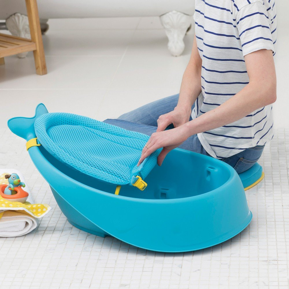 Amazon.com : Skip Hop Moby Baby Bath Tub 3 In 1 Smart Sling, Blue : Baby