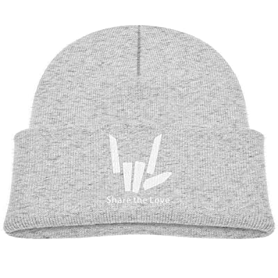 Share The Love Kid's Beanie Knitted Hats Warm Caps for Boys Girls Gray: Clothing