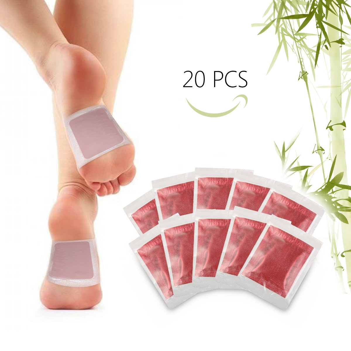 Foot Pads, Y.F.M Bamboo Vinegar Charcoal Foot Patch, 20 Pcs Relieve Tired Foot Pads, Pain Relief Foot Care Relaxing Sheet Help Deep Sleep