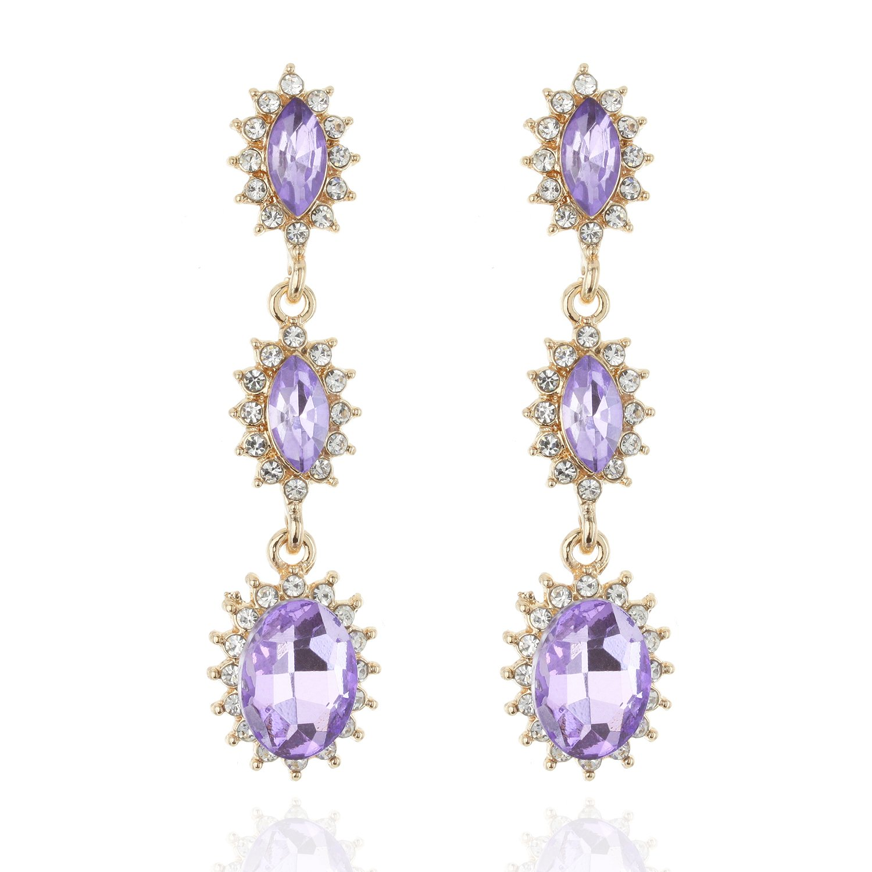 b7255963c Amazon.com: Bridal Greek Halo Tear Drop Dangle Austrian Crystal Accented  Earrings statement Jewelry in Lilac: Jewelry