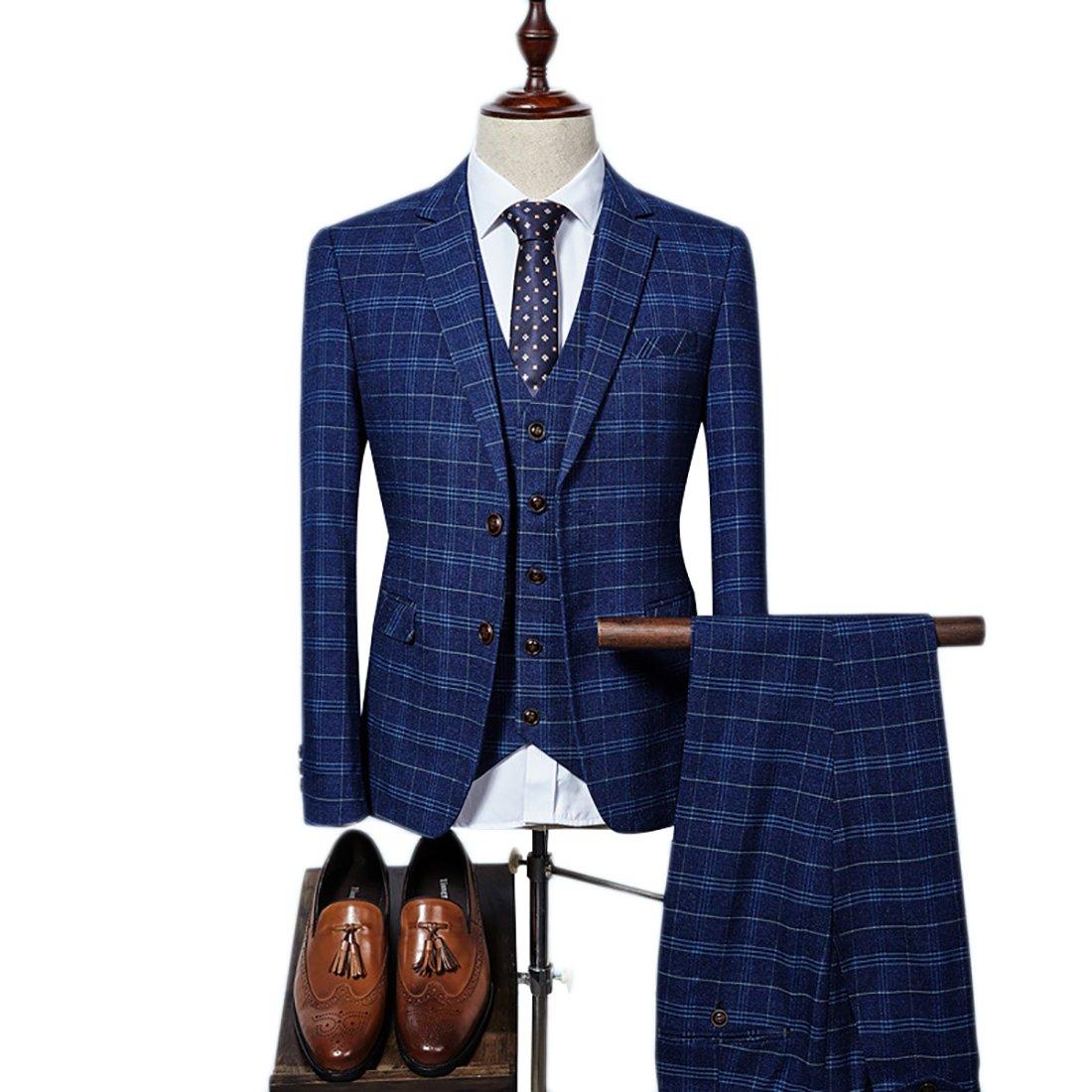 Mens Plaid 3 Pieces Suit Slim Fit Notch Lapel One Button Party Tux Jacket Vest Trousers Set (Purplish Blue,M)