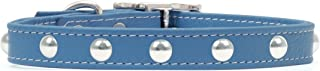 product image for Rockin Doggie Domed Rivets Leather Dog Collar, 1/2 by 8-Inch, Blue