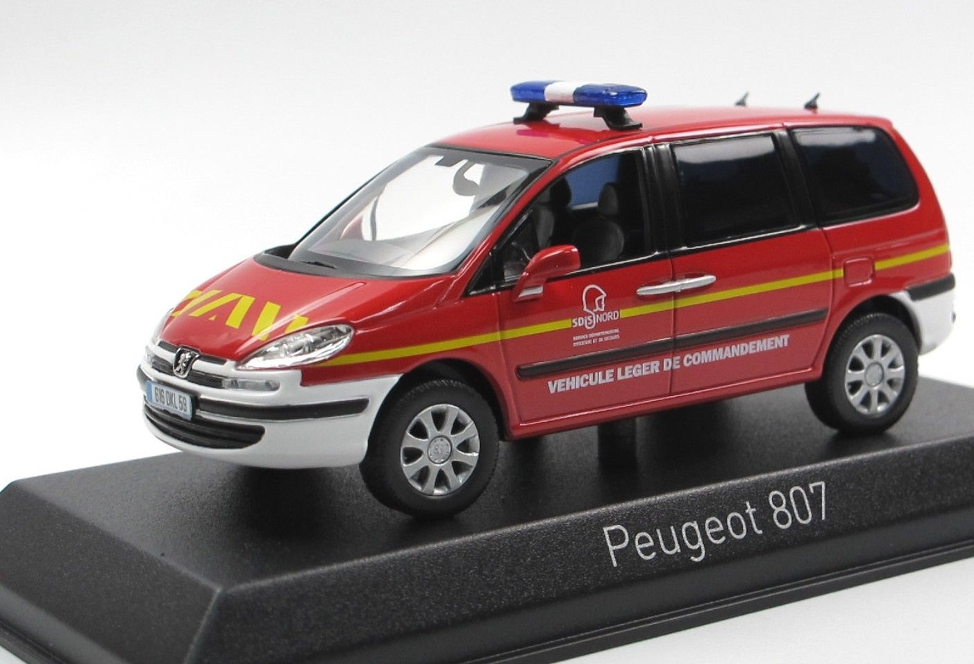 Norev Peugeot 807-Pompier 2013-Echelle 1/43, 478709, Rouge/Blanc NV478709