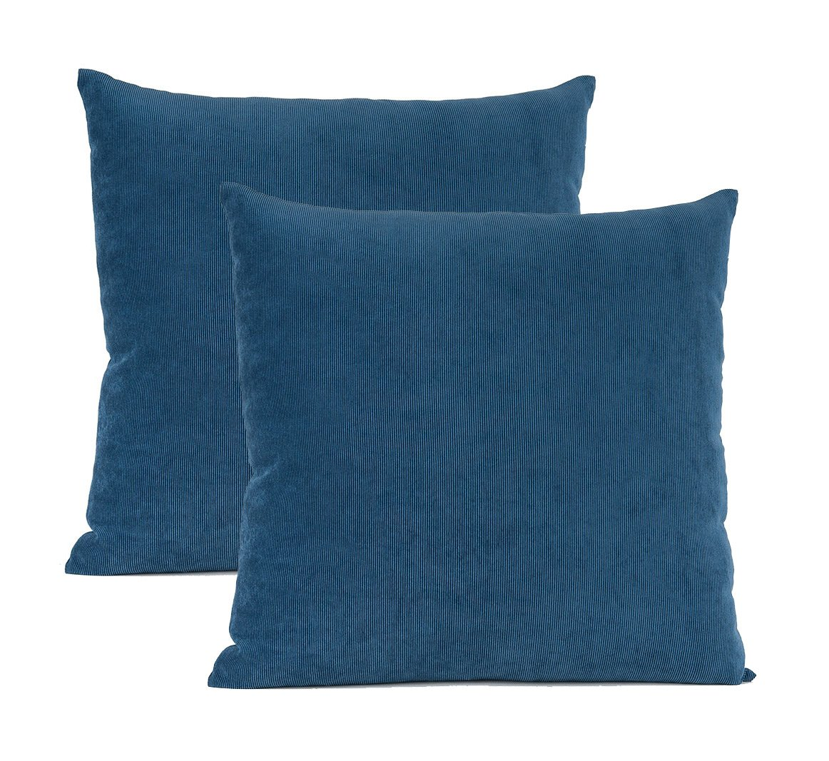 Solid Pillowcase for Sofa Set of 2 Royal Blue