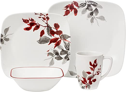 26.7cm Corelle Boutique Square Dinner Plate Kyoto Night 10.5in 6 Pack