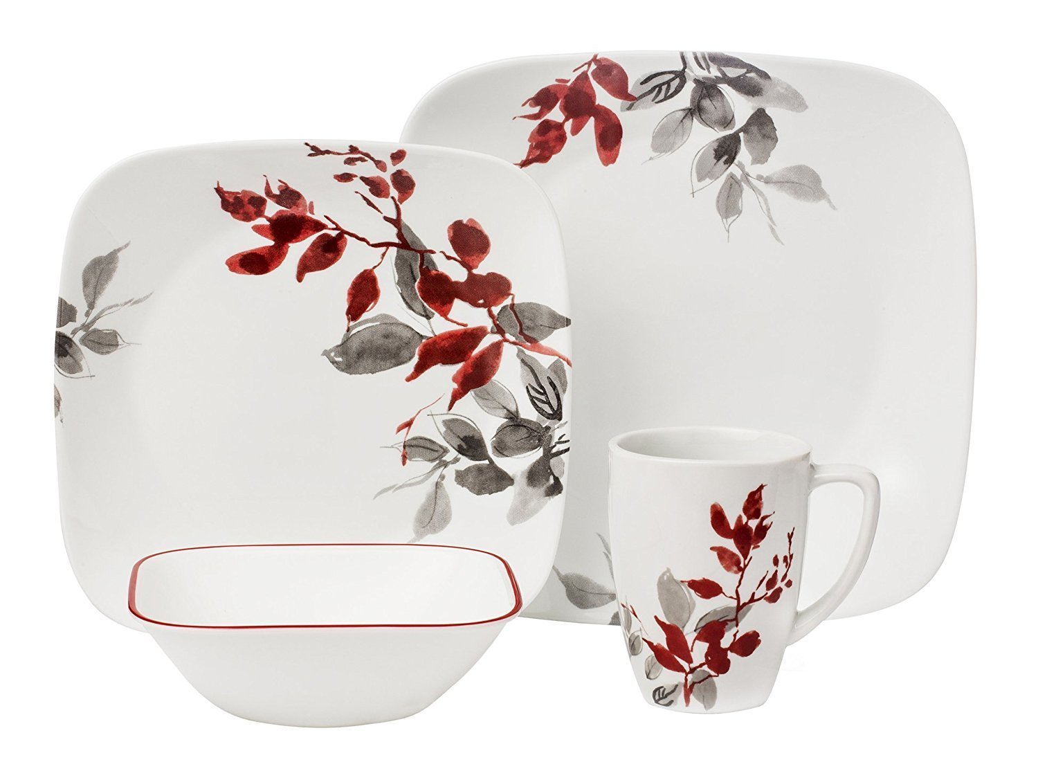 Corelle 16-Piece Vitrelle Glass Kyoto Leaves Chip and Break Resistant Dinner Set, Service for 4, Red/ Grey World Kitchen FBA_3972