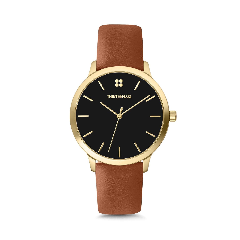 Amazon.com: 1302 Watches for Women, Gold Leather Band Watch, Black Dial Watch, Womens Watches, Watches for Women, Reloj de Mujer, Womens Wrist Watch, ...