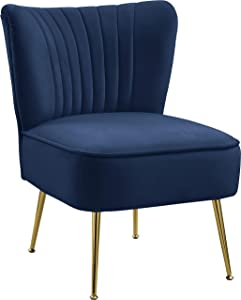 Meridian Furniture Tess Collection Modern   Contemporary Velvet Upholstered Accent Chair with Deep Channel Tufting and Custom Gold Steel Legs, 22.5
