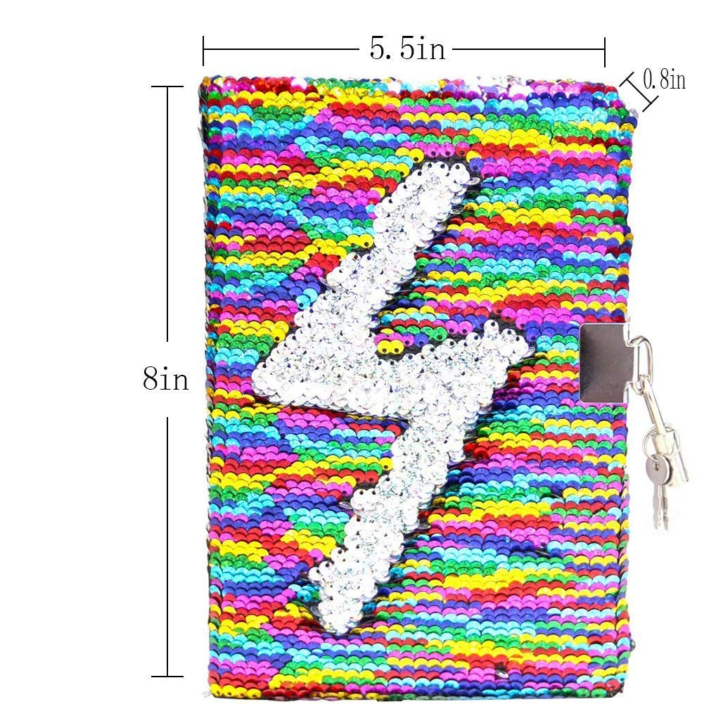 """Fanovo Sequin Notebook, Unicorn Journal, Mermaid Reversible Sequin Diary with Lock and Key, Size A5 (8.5"""" x 5.5"""") , + 1 Sheet Photo Corner + 2 Pens (Rainbow-with Lock)"""