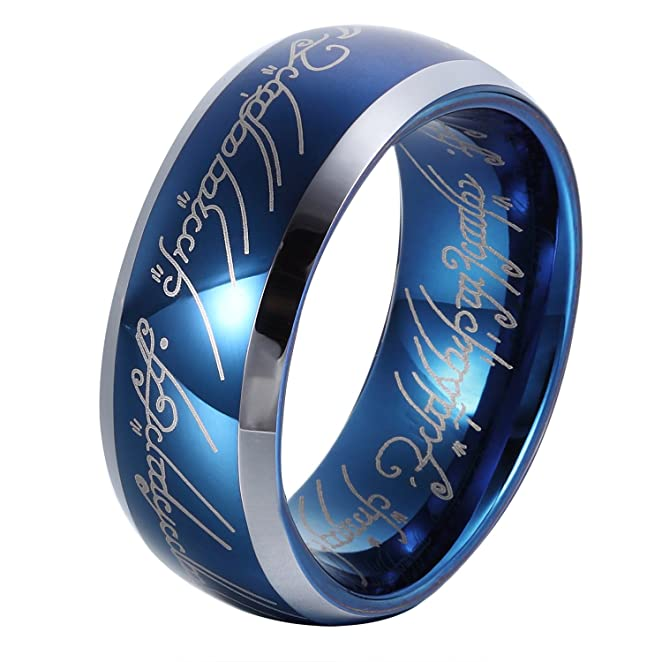 GER GER 8mm Sapphire Blue Tungsten Carbide Ring Lord of the Rings Wedding Band for Men&Women Size 6 to 14
