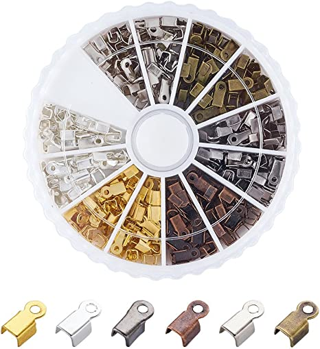 Pandahall 420pcs//box 6 Color Iron Fold Over Crimp Cord Ends Terminators Clamp End Tips for 3mm Thick Leather Silk Ribbon Jewelry Findings 6x3x2.3mm