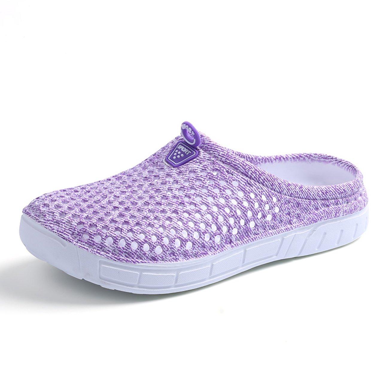 SKYMAIP Women Mesh Summer Garden Clog Breathable Slippers Beach Sandals Shower Footwear Water Shoes Walking Anti-Slip Shoes Purple 41