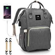 Cok Diaper Bag Backpack with Charging Pad, USB Insulated Pockets & Stroller Straps, Waterproof Large Capacity Nappy Bags for Baby Care, Multi-Function and Durable