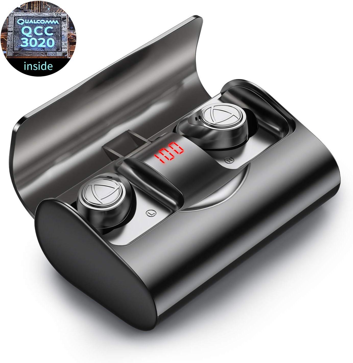 Auriculares inalámbricos Bluetooth 5.1 IHOUMI, para Hacer Deporte, Auriculares estéreo 6D de Alta fidelidad, IPX7 Impermeable,con Caja de Carga y micrófono, Control táctil