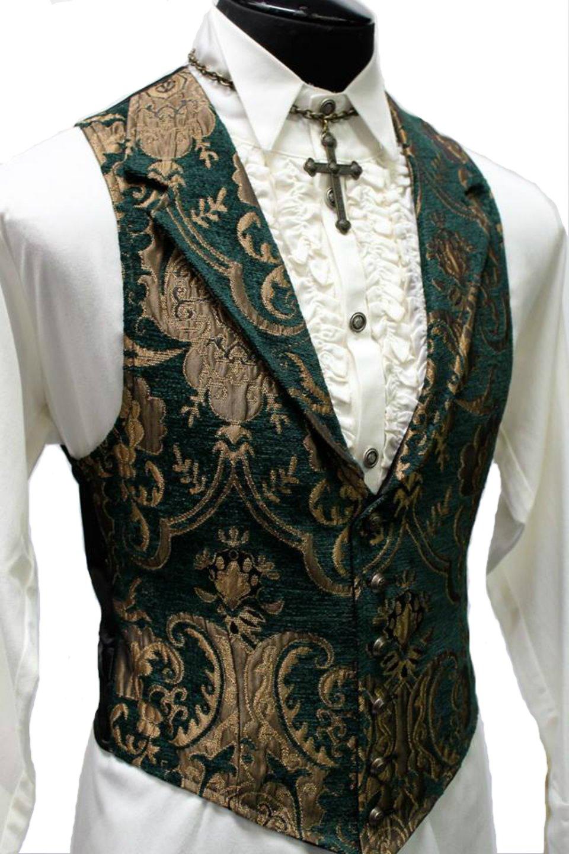 Shrine Gothic Aristocrat Victorian Tapestry Vintage Green Gold Retro Steampunk Jacket Vest 3