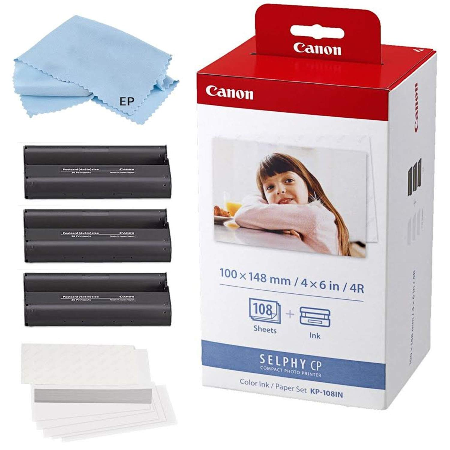 Canon KP-108IN 3 Color Ink Cassette and 108 Sheets 4 x 6 Paper for SELPHY CP1300, CP1200, CP910, CP900, CP760, CP770, CP780 CP800 Wireless Compact Photo Printer with Cleaning Cloth by Eternal Photo