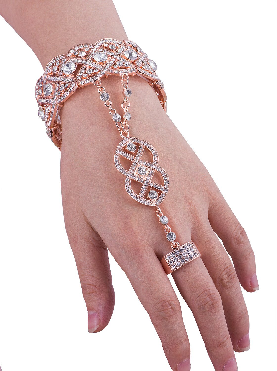 Vijiv Gold 1920s Flapper accessories Bracelet Ring Set Great Gatsby Style 20s Jewelry For Party by Vijiv (Image #5)