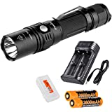 Rechargeable Bundle: Fenix PD35 TAC (PD35 Tactical) XP-L 1000 Lumens Tactical Flashlight, 2x Fenix 2600mAH 18650 Batteries, Smart Charger and LumenTac Battery Organizer