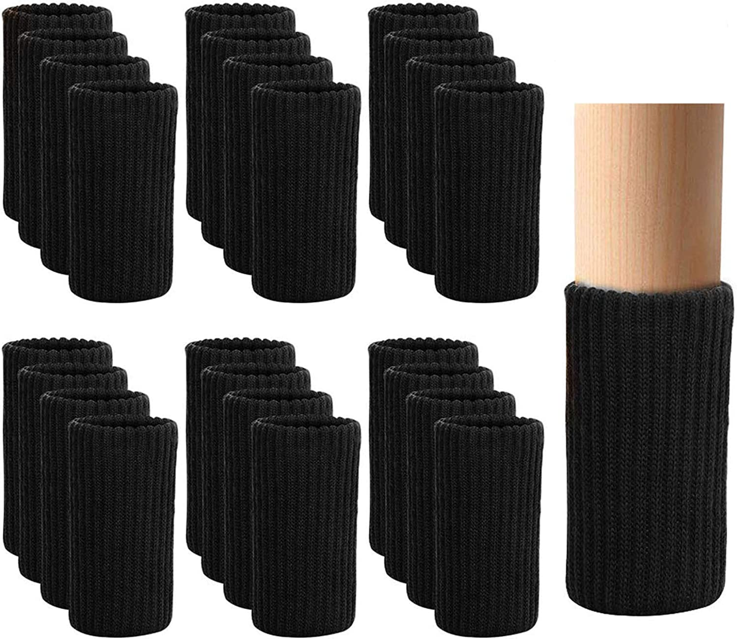 24 PCS Furniture Leg Socks Knitted Furniture Socks - Chair Leg Floor Protectors for Avoid Scratches, Furniture Pads Set for Moving Easily and Reduce Noise, Black
