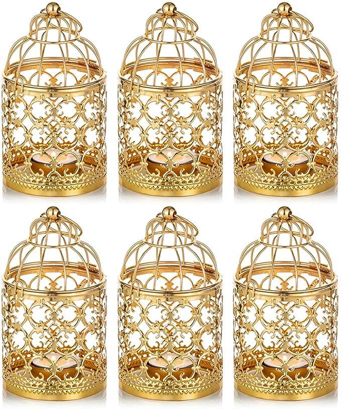 Nuptio 6 Piezas De Metal Pequeño Tealight Colgante Linterna De Jaula, Centros De Mesa Decorativos Vintage De Boda y Fiesta, Oro