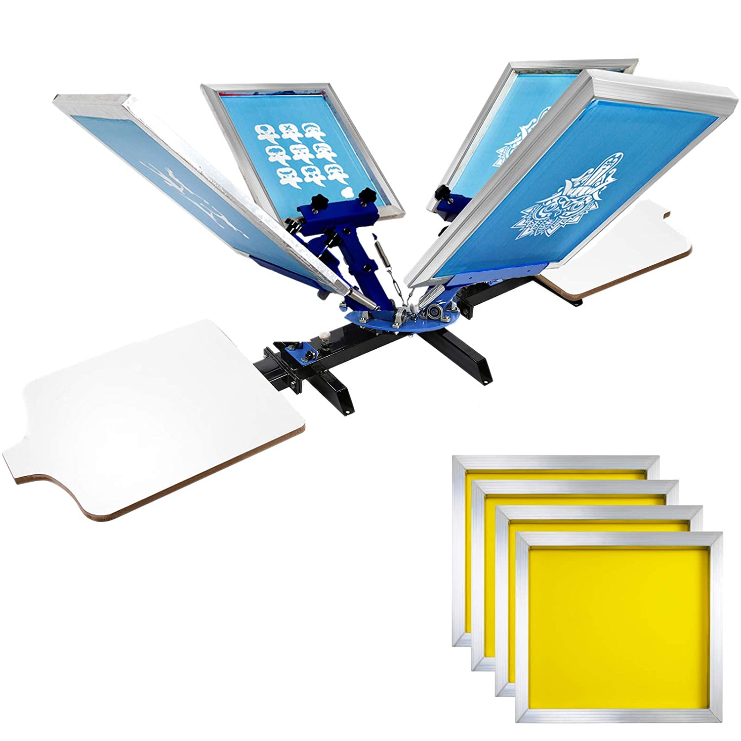 VEVOR Screen Printing 4 Color 2 Station Screen Printing Machine and 6 Pieces 10x14 Inch Aluminum Screen Frame with White 156 Count Mesh