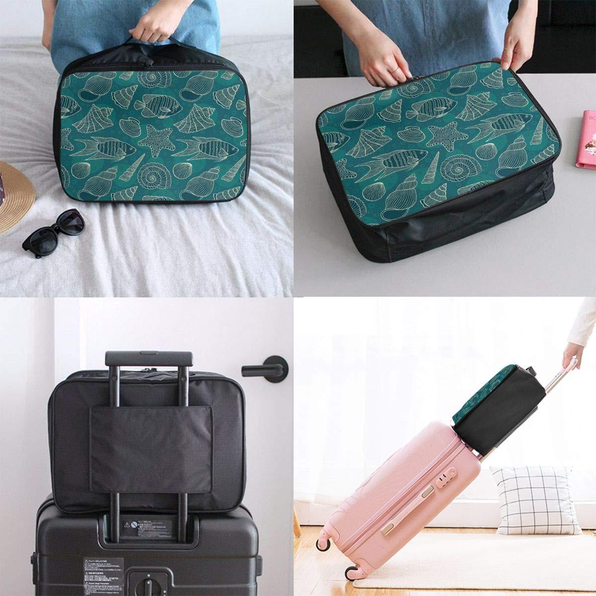 ADGAI Nautical Ocean Pattern Underwater Canvas Travel Weekender Bag,Fashion Custom Lightweight Large Capacity Portable Luggage Bag,Suitcase Trolley Bag