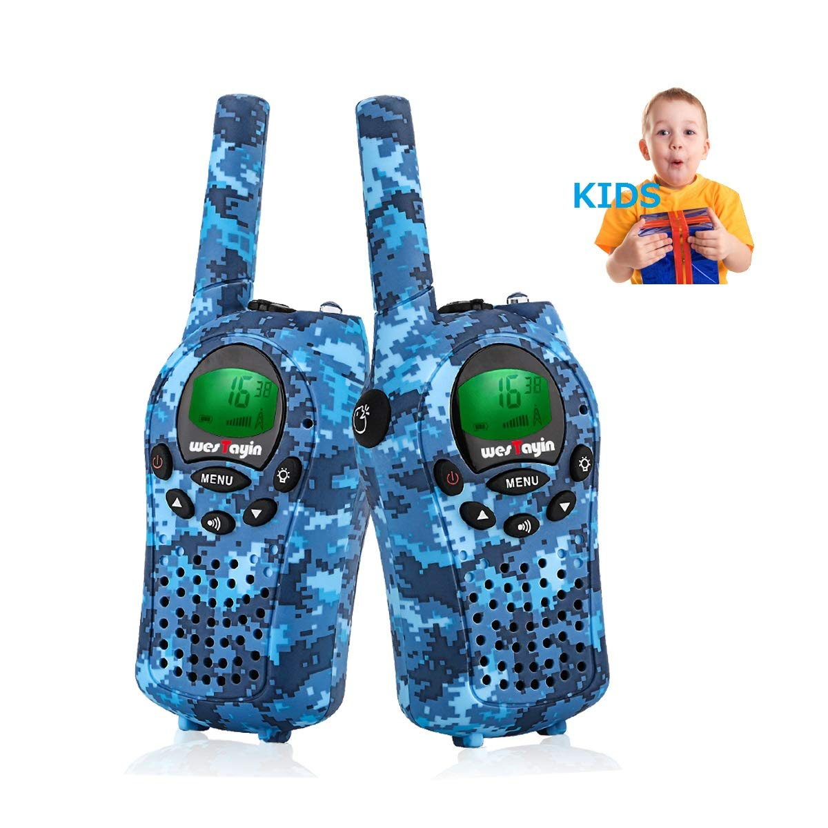 Walkie Talkies for kids, Kids Walkie Talkies for Girls and Boys , Vox Hands Free 4 Miles Long Range Walkie Talkie Set with Cystal Sound and LED Flashlight, Best Kids Toys Gifts for Christmas Birthday by WES TAYIN (Image #1)