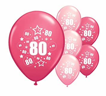 10 X 80th BIRTHDAY BALLOONS AGE 80 PINK AND LIGHT MIX 12quot HELIUM