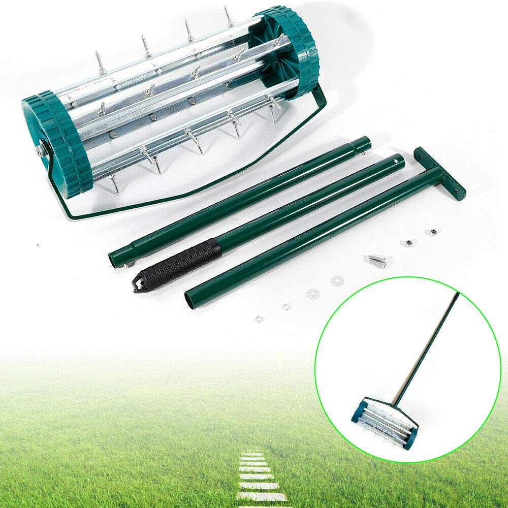 h5_to 1 Pc Green Heavy Duty Rolling Garden Lawn Aerator Roller Home Grass with 3 Handle