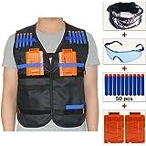 COSORO Kids Black Tactical Vest Jacket Kit (comes with Skull Face Mask + Protective Goggles + 50pcs Darts Bullets + 2pcs 5-dart Quick Reload Clip) for Nerf Guns N-strike Elite Series