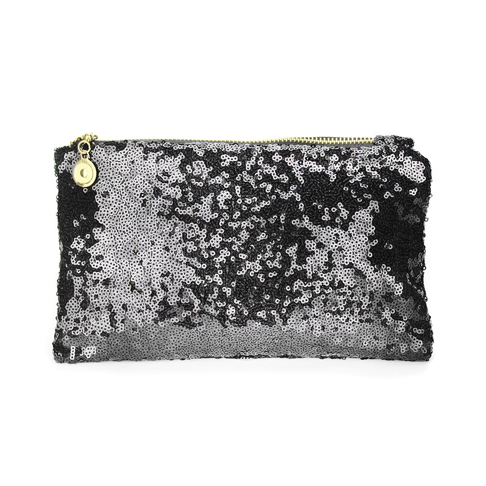 Lady Sequins Handbag Clutch, Funky Glitter Black Evening Envelope Clutch Purse, Bridal Luxurious Sparkling Bling Sequined Makeup Clutches Cosmetic Bag