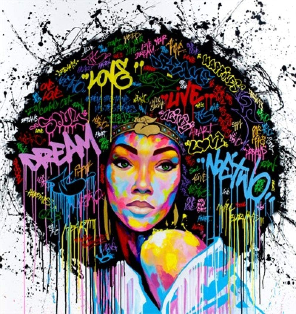 yiyiyaya DIY preimpreso Lienzo Pintura al óleo Graffiti Art Poster Print Mujer Africana Lienzo impresión Arte Pintura Retrato Decorativo Pared Cuadros para Sala decoración-40x40cm_no_Frame_D076-3
