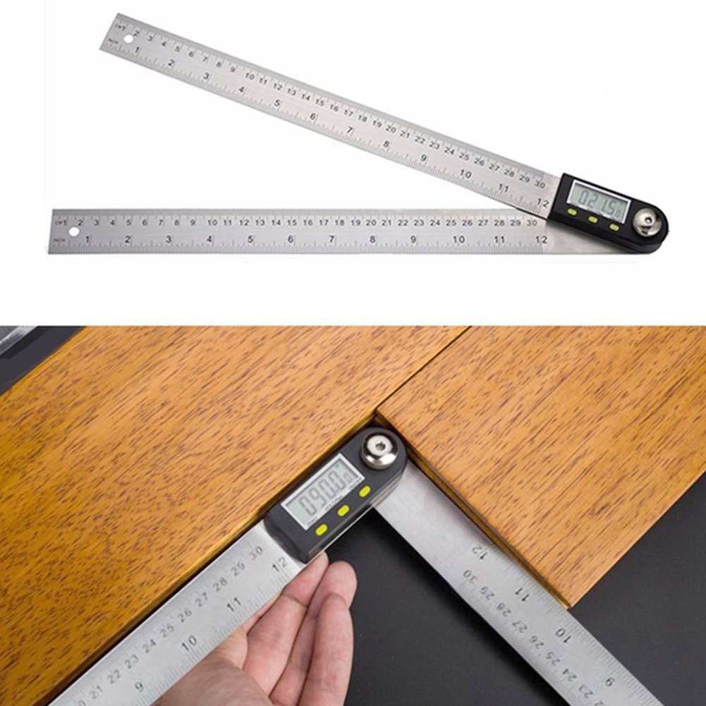 1PC 2-in-1 Digital Electronic Protractor Ruler with LCD Display Stainless Steel Angle Finder Protractor Gauge Ruler for Woodworking Construction Machining(0-300mm) by GEZICHTA (Image #4)