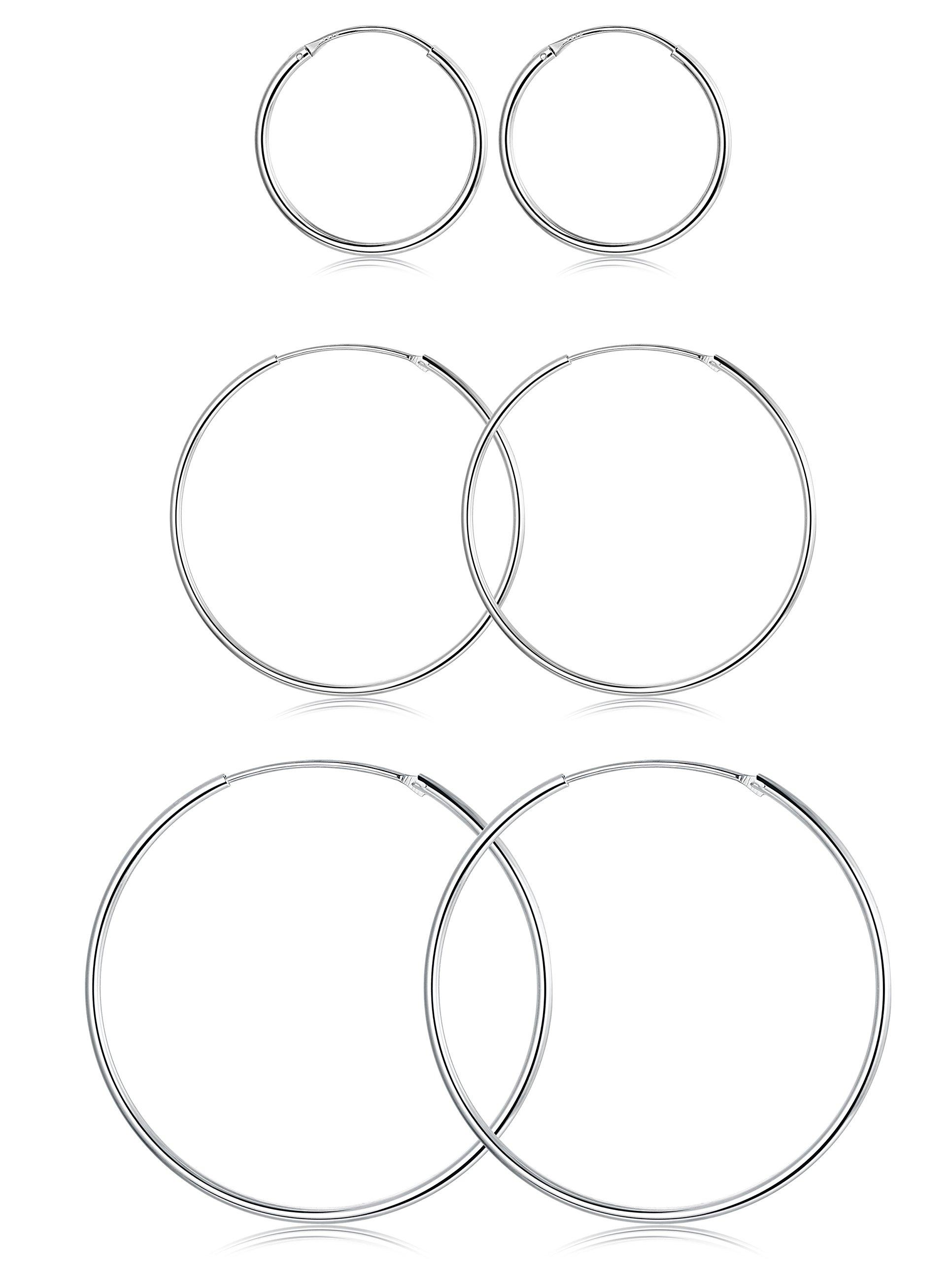 FUNRUN JEWELRY 3 Pairs Sterling Silver Hoop Earrings for Women Men Round Earrings Set 10-40MM (B: Platinum-Plated 3 Pairs: 20MM/30MM/40MM) by FUNRUN JEWELRY (Image #1)
