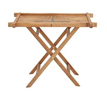 Plutus Brands Wood Folding Table With Majestic Looks And Artistic Pattern