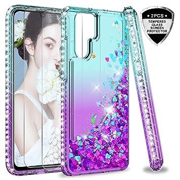 LeYi Funda Huawei P30 Pro Silicona Purpurina Carcasa con [2-Unidades Cristal Vidrio Templado],Transparente Cristal Bumper Fundas Case Cover para Movil ...